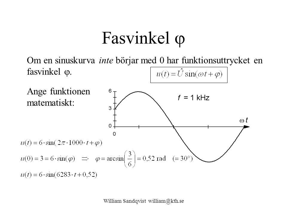 William Sandqvist william@kth.se Fasvinkel  Om en sinuskurva inte börjar med 0 har funktionsuttrycket en fasvinkel . Ange funktionen matematiskt: