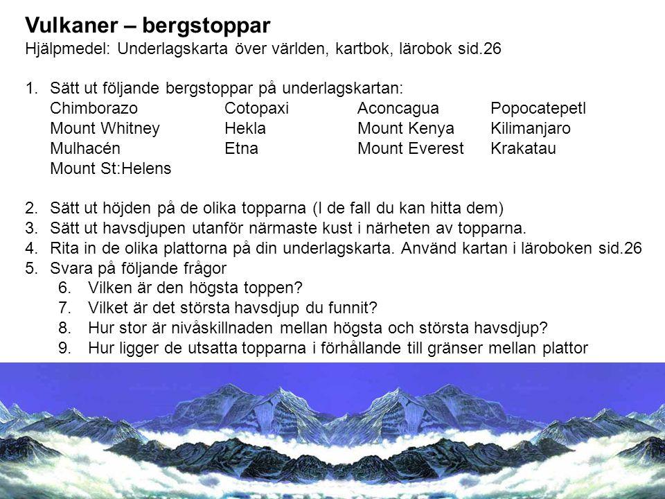 Vulkaner – bergstoppar Hjälpmedel: Underlagskarta över världen, kartbok, lärobok sid.26 1.Sätt ut följande bergstoppar på underlagskartan: ChimborazoC