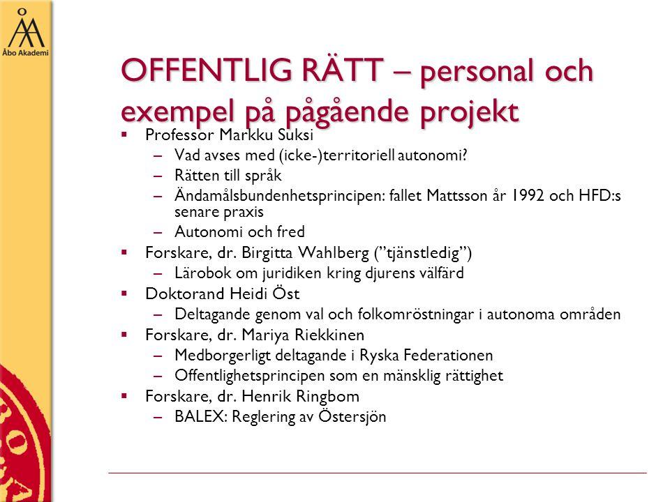 OFFENTLIG RÄTT – personal och exempel på pågående projekt  Professor Markku Suksi –Vad avses med (icke-)territoriell autonomi? –Rätten till språk –Än