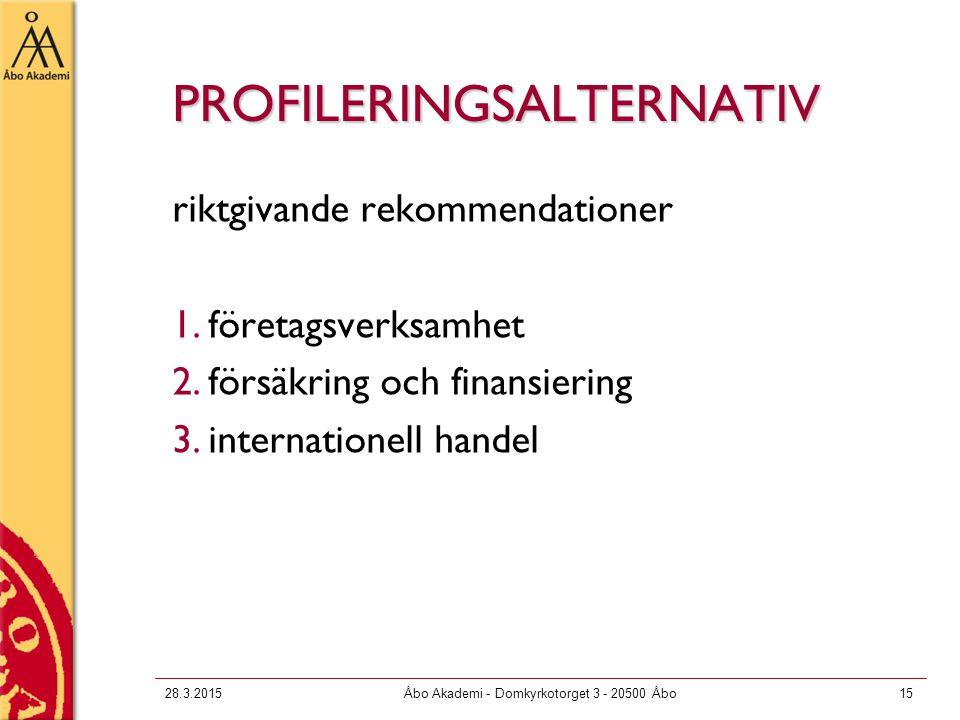 28.3.2015Åbo Akademi - Domkyrkotorget 3 - 20500 Åbo15 PROFILERINGSALTERNATIV riktgivande rekommendationer 1.företagsverksamhet 2.försäkring och finansiering 3.internationell handel