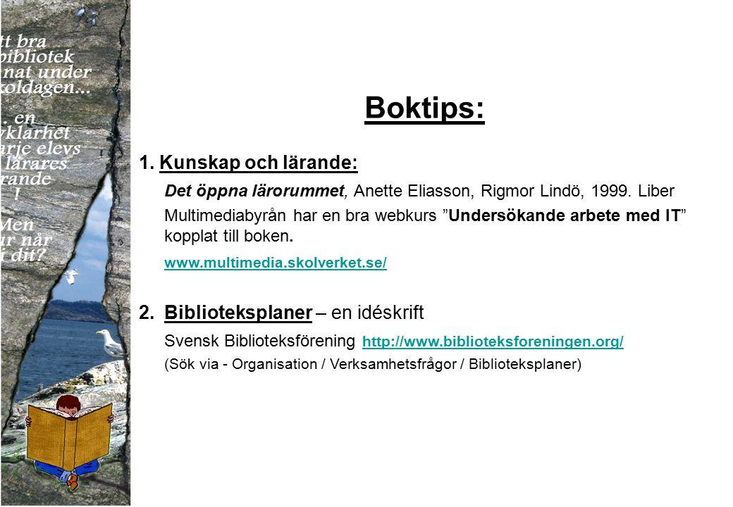 """Boktips: 1. Kunskap och lärande: Det öppna lärorummet, Anette Eliasson, Rigmor Lindö, 1999. Liber Multimediabyrån har en bra webkurs """"Undersökande arb"""