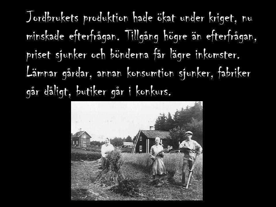 Jordbrukets produktion hade ökat under kriget, nu minskade efterfrågan. Tillgång högre än efterfrågan, priset sjunker och bönderna får lägre inkomster