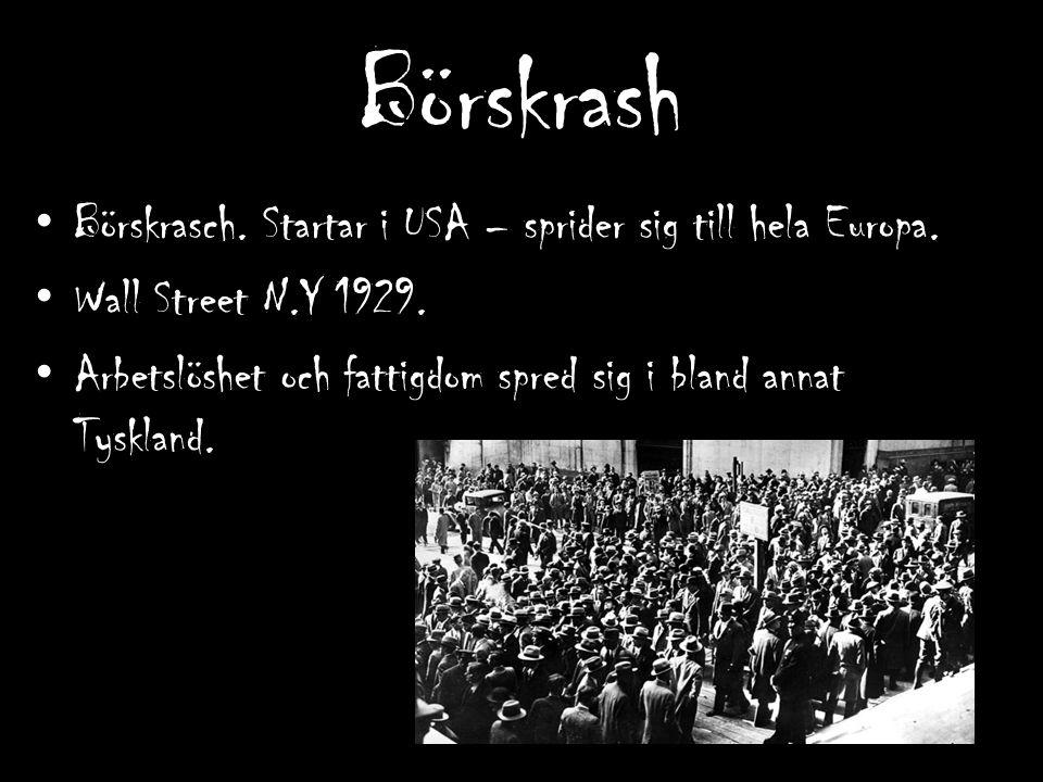 Börskrash Börskrasch. Startar i USA – sprider sig till hela Europa. Wall Street N.Y 1929. Arbetslöshet och fattigdom spred sig i bland annat Tyskland.