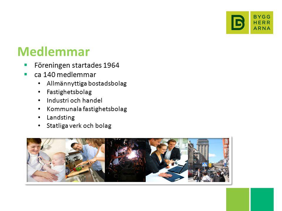 Medlemmar  Föreningen startades 1964  ca 140 medlemmar Allmännyttiga bostadsbolag Fastighetsbolag Industri och handel Kommunala fastighetsbolag Landsting Statliga verk och bolag