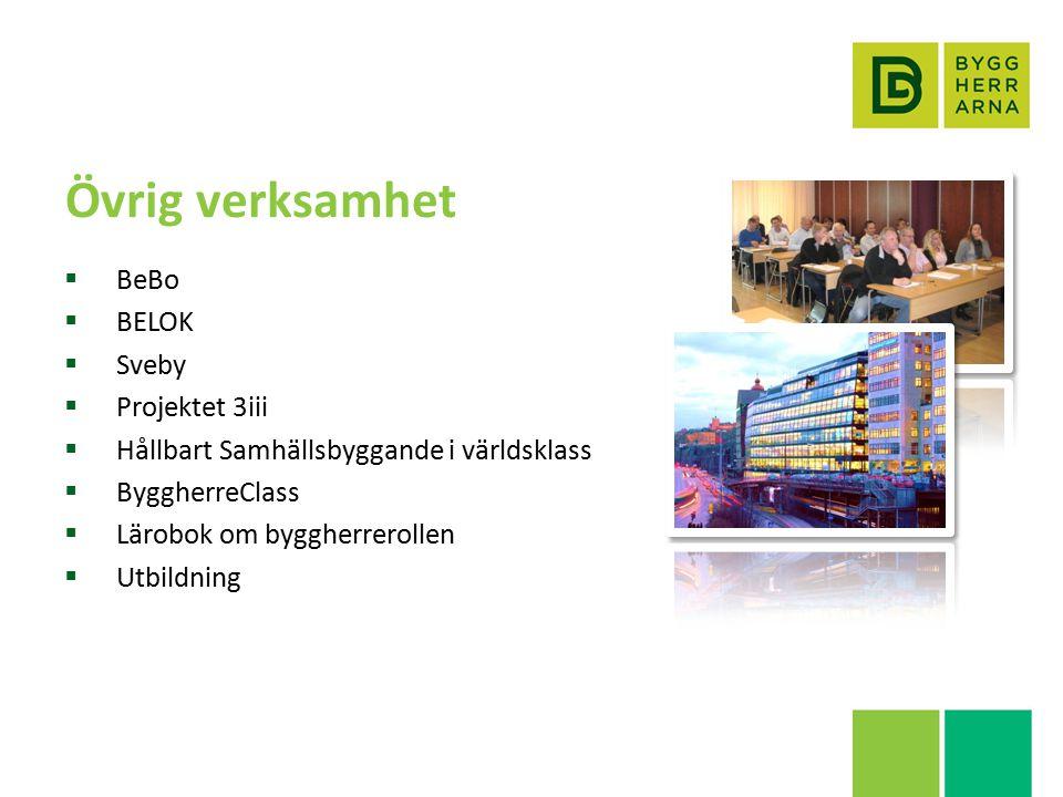 Övrig verksamhet  BeBo  BELOK  Sveby  Projektet 3iii  Hållbart Samhällsbyggande i världsklass  ByggherreClass  Lärobok om byggherrerollen  Utbildning