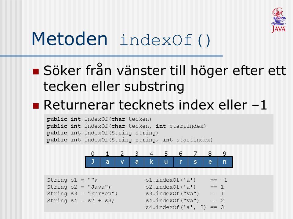 Metoden indexOf() Söker från vänster till höger efter ett tecken eller substring Returnerar tecknets index eller –1 public int indexOf(char tecken) pu