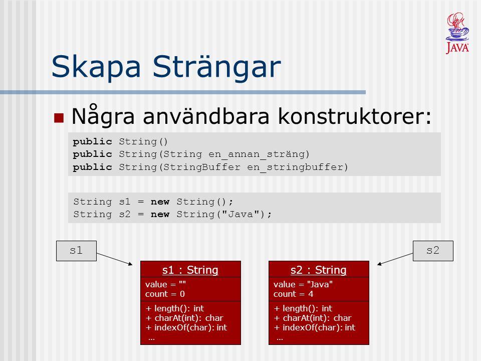 java.lang.StringBuffer Är strängar som kan modifieras Några konstruktorer: public StringBuffer() public StringBuffer(String en_existerande_sträng) Några metoder: public StringBuffer append(Type t) // lägger till sist public StringBuffer insert(int offset, Type t) // sätter in vid offset public StringBuffer delete(int start, int end) // tar bort tecknen mellan public StringBuffer reverse() // vänder - java  avaj public String toString() // StringBuffer som String public char charAt(int index) // returnerar tecknet vid index public int indexOf(String str) // index där str finns (vänster  höger) public int lastIndexOf(String str) // index där str finns (höger  vänster) public int length() // antal tecken i aktuell StringBuffer public String substring(int start) // en substräng från start till slutet