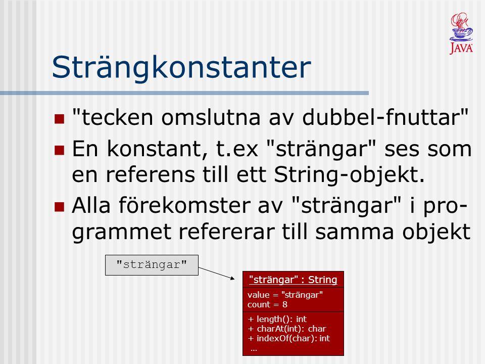 Addera Strängar Ytterligare ett sätt att skapa strängar är att addera två andra + operatorn används för detta String efterNamn = Karlsson ; String namn = Kalle + efternamn; System.out.println(namn);// Kalle Karlsson Primitiva typer konverteras om automatiskt vid strängaddition System.out.println( 5 + 5 = + 5 + 5); // 5 + 5 = 55 System.out.println( 5 + 5 = + (5 + 5)); // 5 + 5 = 10 ( 5 + 5 = + 5 + 5 ) ( 5 + 5 = + 10 )