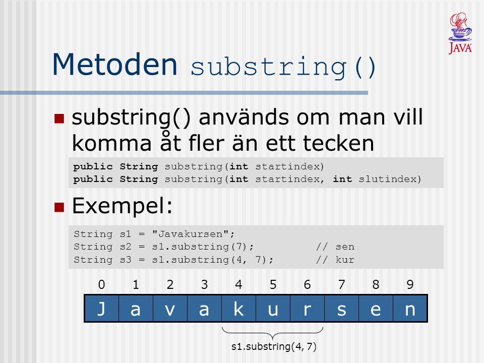 Metoden indexOf() Söker från vänster till höger efter ett tecken eller substring Returnerar tecknets index eller –1 public int indexOf(char tecken) public int indexOf(char tecken, int startindex) public int indexOf(String string) public int indexOf(String string, int startindex) 9876543210 nesrukavaJ String s1 = ; s1.indexOf( a ) == -1 String s2 = Java ; s2.indexOf( a ) == 1 String s3 = kursen ; s3.indexOf( va ) == 1 String s4 = s2 + s3; s4.indexOf( va ) == 2 s4.indexOf( a , 2) == 3
