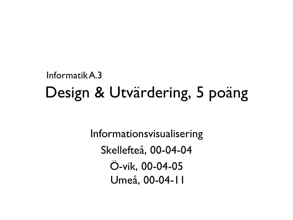 Design & Utvärdering, 5 poäng Informationsvisualisering Skellefteå, 00-04-04 Ö-vik, 00-04-05 Umeå, 00-04-11 Informatik A.3