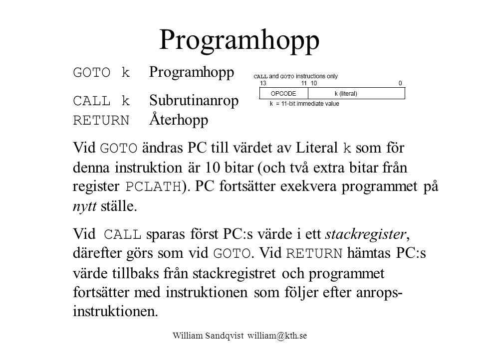 William Sandqvist william@kth.se Programhopp GOTO k Programhopp CALL k Subrutinanrop RETURN Återhopp Vid GOTO ändras PC till värdet av Literal k som för denna instruktion är 10 bitar (och två extra bitar från register PCLATH ).