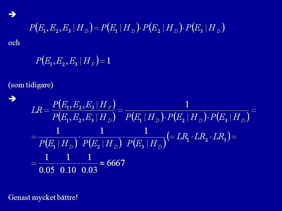 Utveckling av nämnaren: Homozygota fallet, G c = ( i, i ): där p i är relativa frekvensen för allel i i populationen och P(A m = i | G m ) bestäms som tidigare
