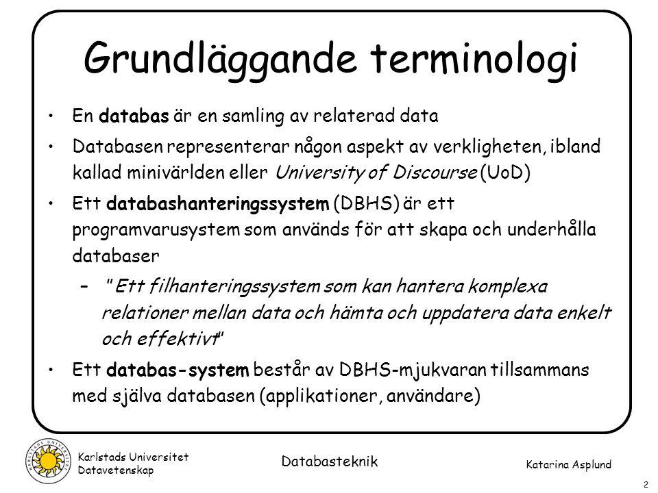 Katarina Asplund Karlstads Universitet Datavetenskap 43 Databasteknik Sekvenser av operationer och RENAME-operationen  Flera operationer kan kombineras för att bilda ett algebraiskt uttryck (en fråga)  Exempel: Hämta namn och vikt för produkter i London:  PNAME,WEIGHT (  CITY='London' (P) ) Alternativt så kan man specificera temporära relationer för varje steg: LONDON_PROD <-  CITY='London' (P) R <-  PNAME,WEIGHT (LONDON_PROD) Attribut i den resulterande relationen kan ges andra namn om man så vill: LONDON_PROD <-  PNAME,WEIGHT (P) R(Produktnamn,Vikt) <-  PNAME,WEIGHT (LONDON_PROD)