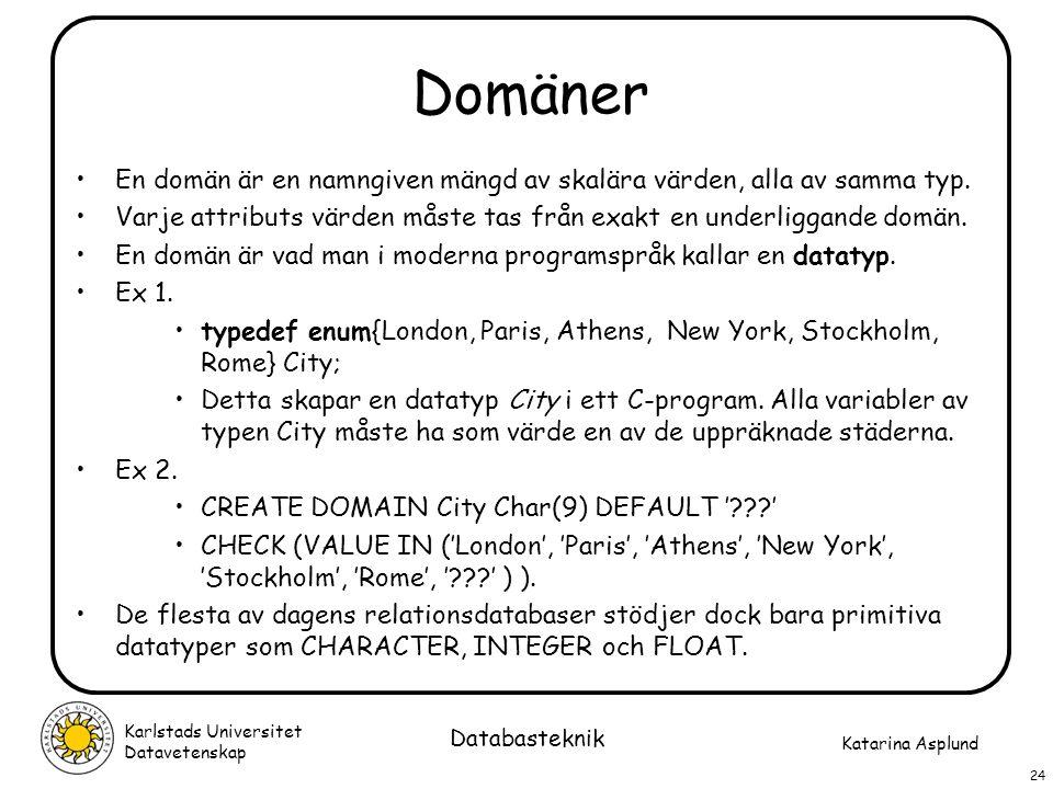 Katarina Asplund Karlstads Universitet Datavetenskap 24 Databasteknik Domäner En domän är en namngiven mängd av skalära värden, alla av samma typ. Var