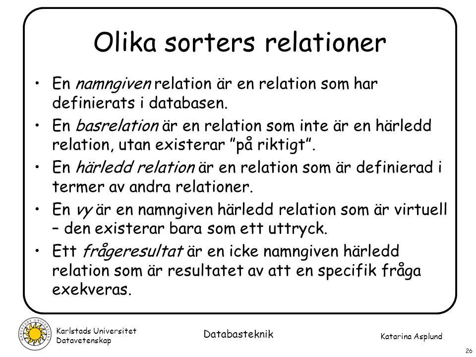 Katarina Asplund Karlstads Universitet Datavetenskap 26 Databasteknik Olika sorters relationer En namngiven relation är en relation som har definierat