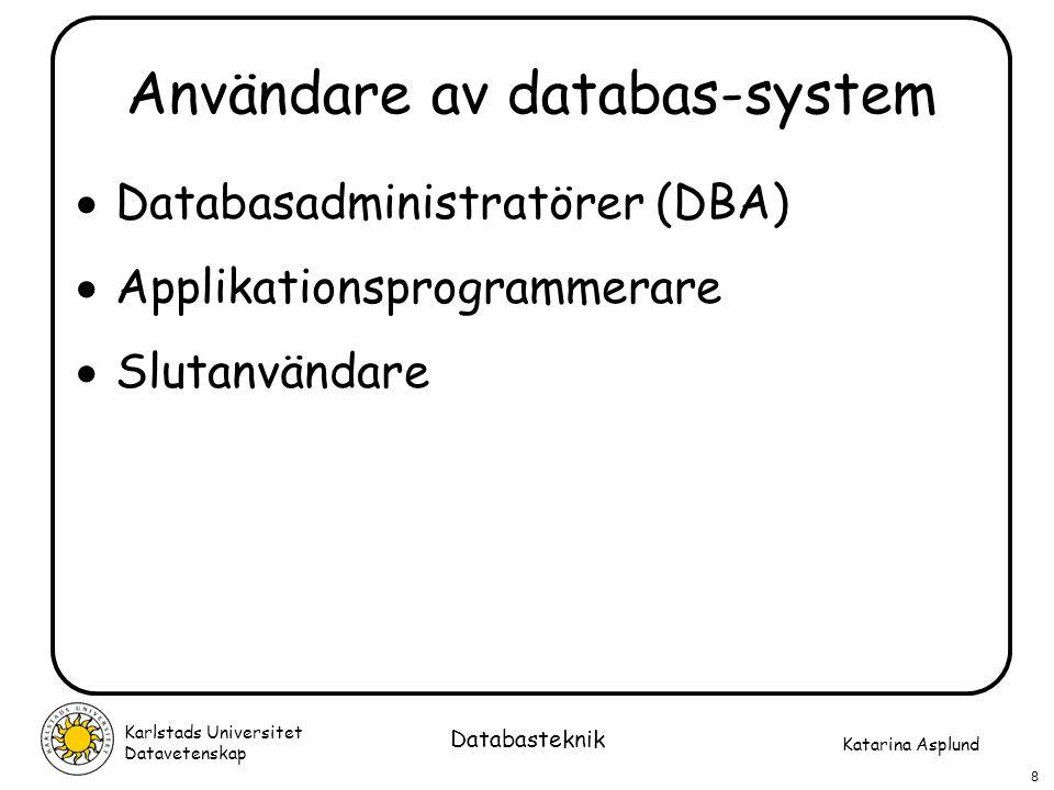 Katarina Asplund Karlstads Universitet Datavetenskap 9 Databasteknik Kort historik… 1965-1980 användes främst hierarkiska databaser och nätverksdatabaser Från ca 1980 har de flesta nya databas-system varit relationsdatabaser DB2, ORACLE, INFORMIX, SYBASE SQL Server, Access (Microsoft) MySQL (Linux) Från ca 1990 har också andra typer av databas- system utvecklats, t ex objektorienterade och objektrelationella databaser