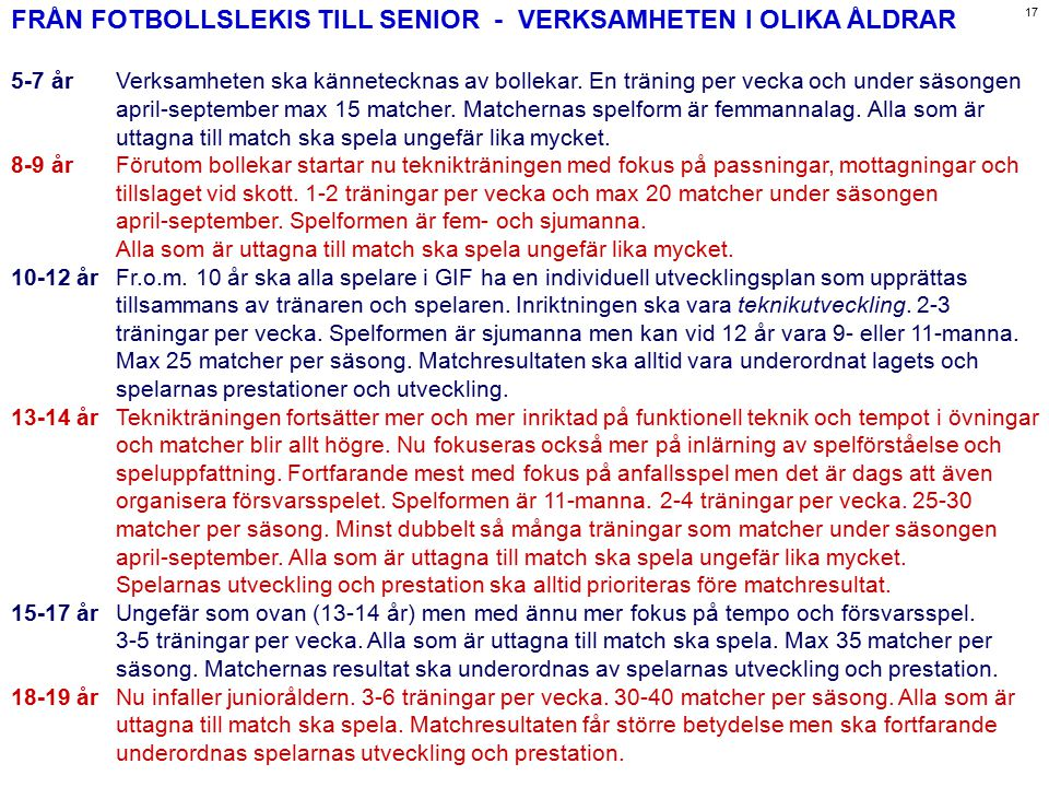 FRÅN FOTBOLLSLEKIS TILL SENIOR - VERKSAMHETEN I OLIKA ÅLDRAR 5-7 årVerksamheten ska kännetecknas av bollekar. En träning per vecka och under säsongen