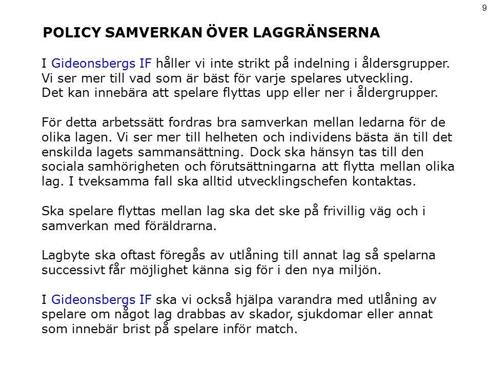 POLICY CUPSPEL 10 Allmänt Föreningen betalar laganmälan till Fotbollens Dag.