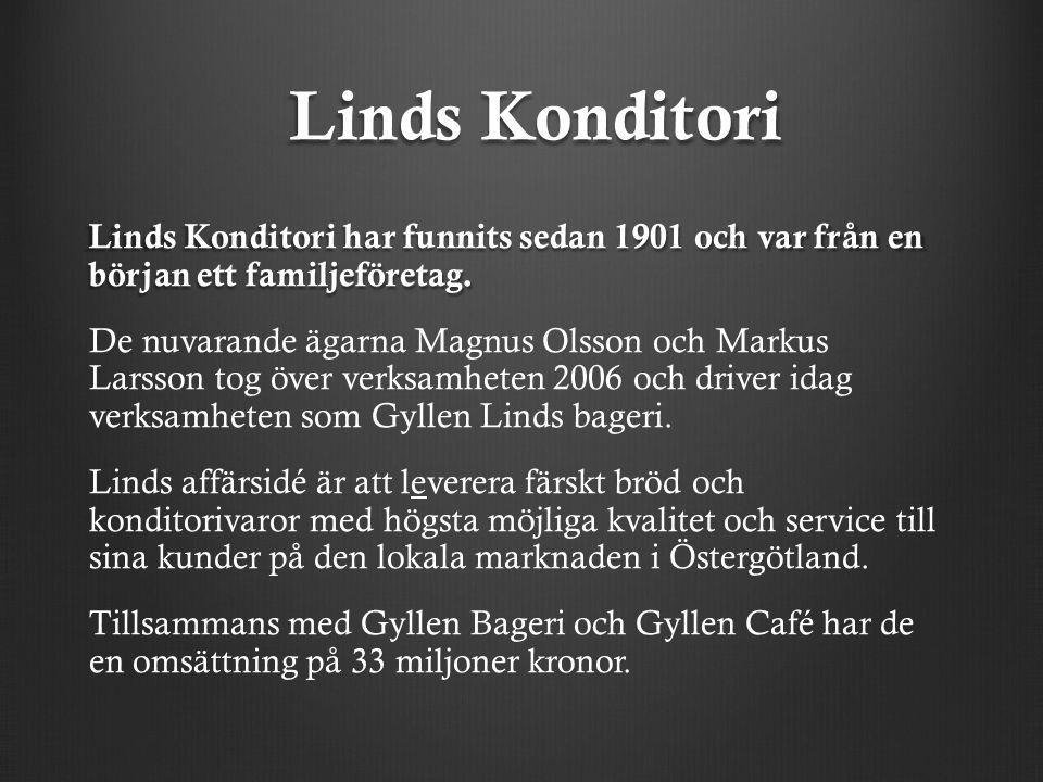 Linds Konditori Linds Konditori har funnits sedan 1901 och var från en början ett familjeföretag. De nuvarande ägarna Magnus Olsson och Markus Larsson