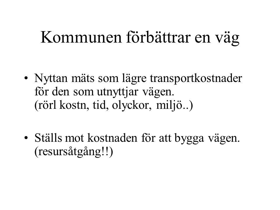 Kommunen förbättrar en väg Nyttan mäts som lägre transportkostnader för den som utnyttjar vägen.