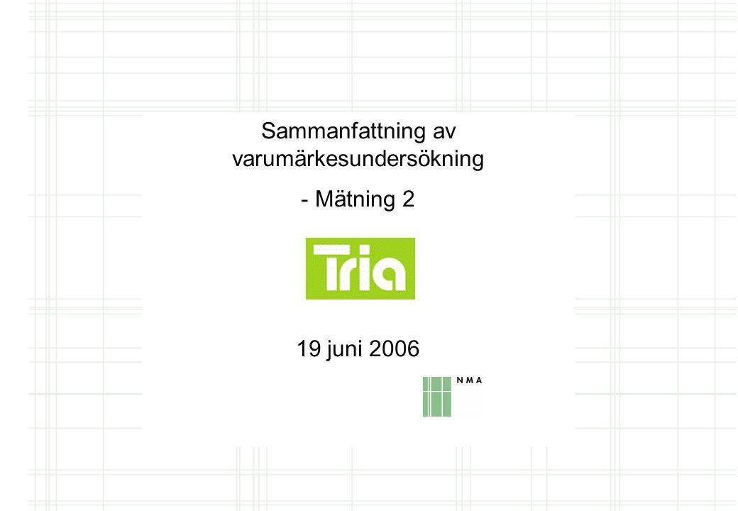 Sammanfattning av varumärkesundersökning - Mätning 2 19 juni 2006
