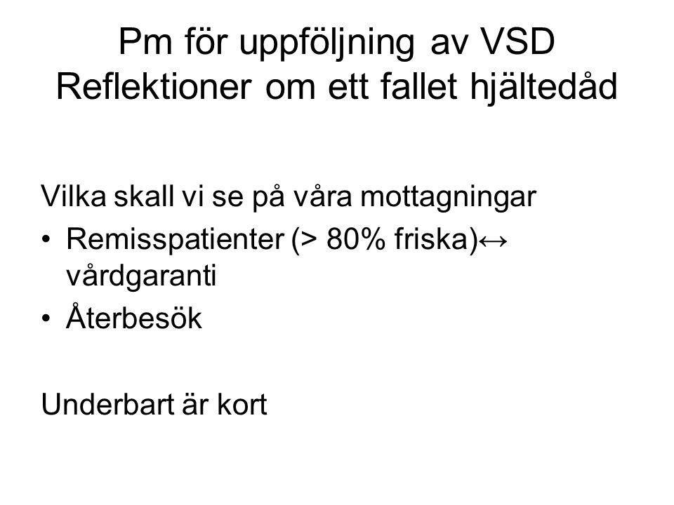 Pm för uppföljning av VSD Reflektioner om ett fallet hjältedåd Vilka skall vi se på våra mottagningar Remisspatienter (> 80% friska)↔ vårdgaranti Åter