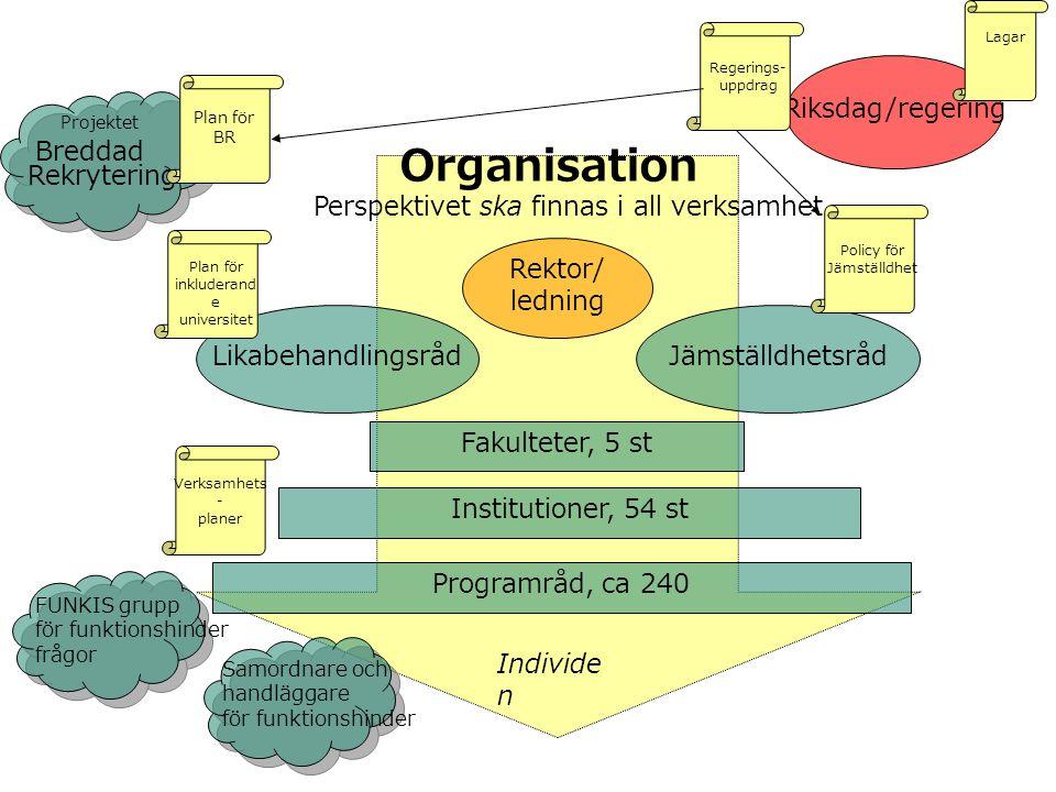 Organisation Perspektivet ska finnas i all verksamhet... Rektor/ ledning LikabehandlingsrådJämställdhetsråd Fakulteter, 5 st Institutioner, 54 st Prog