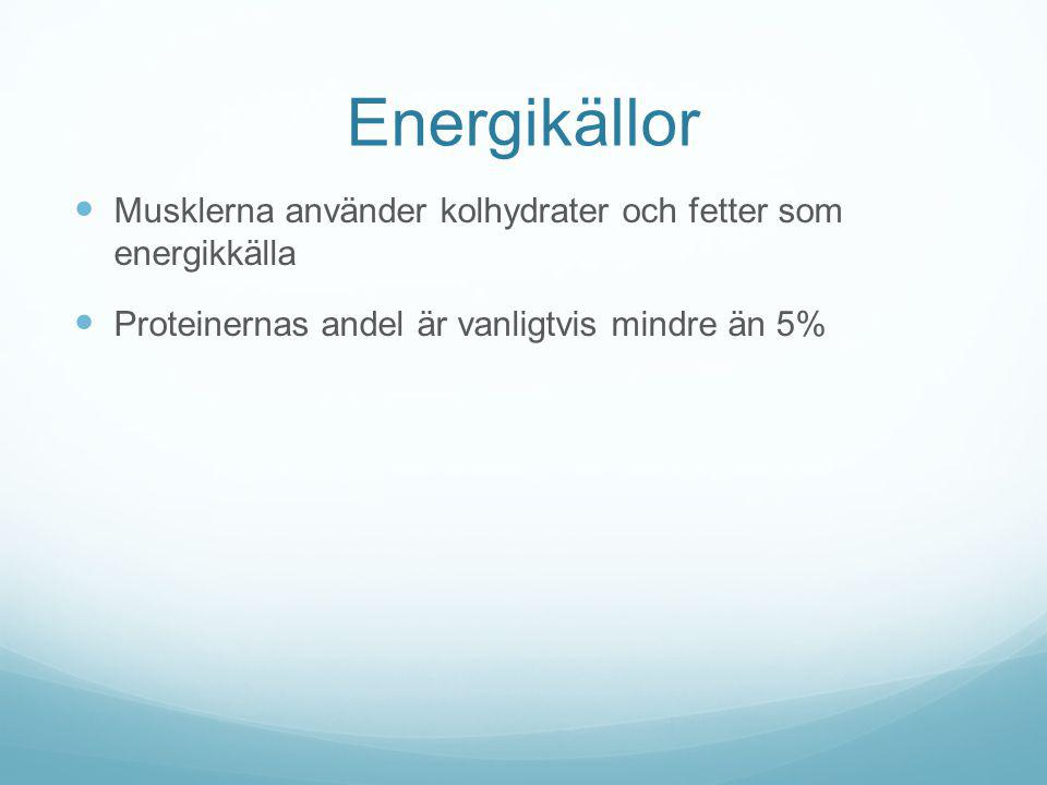 Energikällor Musklerna använder kolhydrater och fetter som energikkälla Proteinernas andel är vanligtvis mindre än 5%