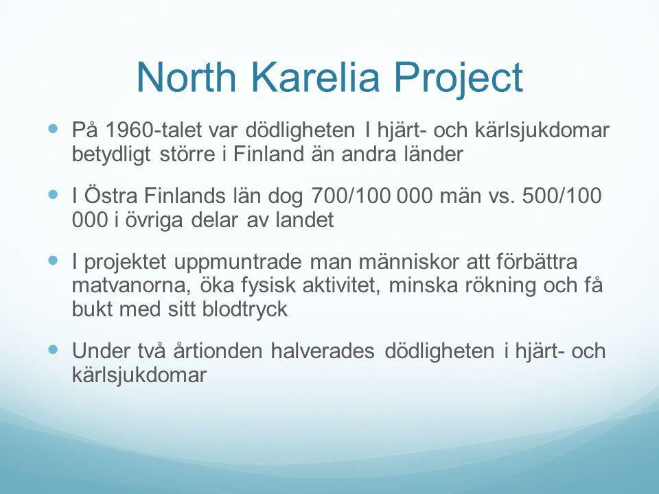 North Karelia Project På 1960-talet var dödligheten I hjärt- och kärlsjukdomar betydligt större i Finland än andra länder I Östra Finlands län dog 700