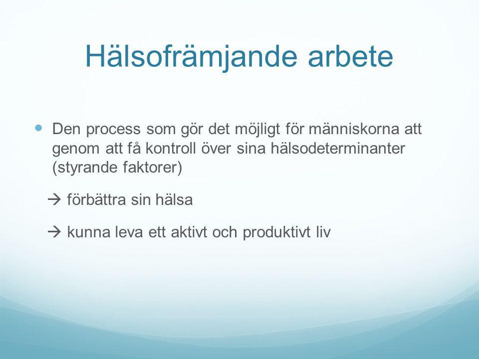Hälsofrämjande arbete Den process som gör det möjligt för människorna att genom att få kontroll över sina hälsodeterminanter (styrande faktorer)  för