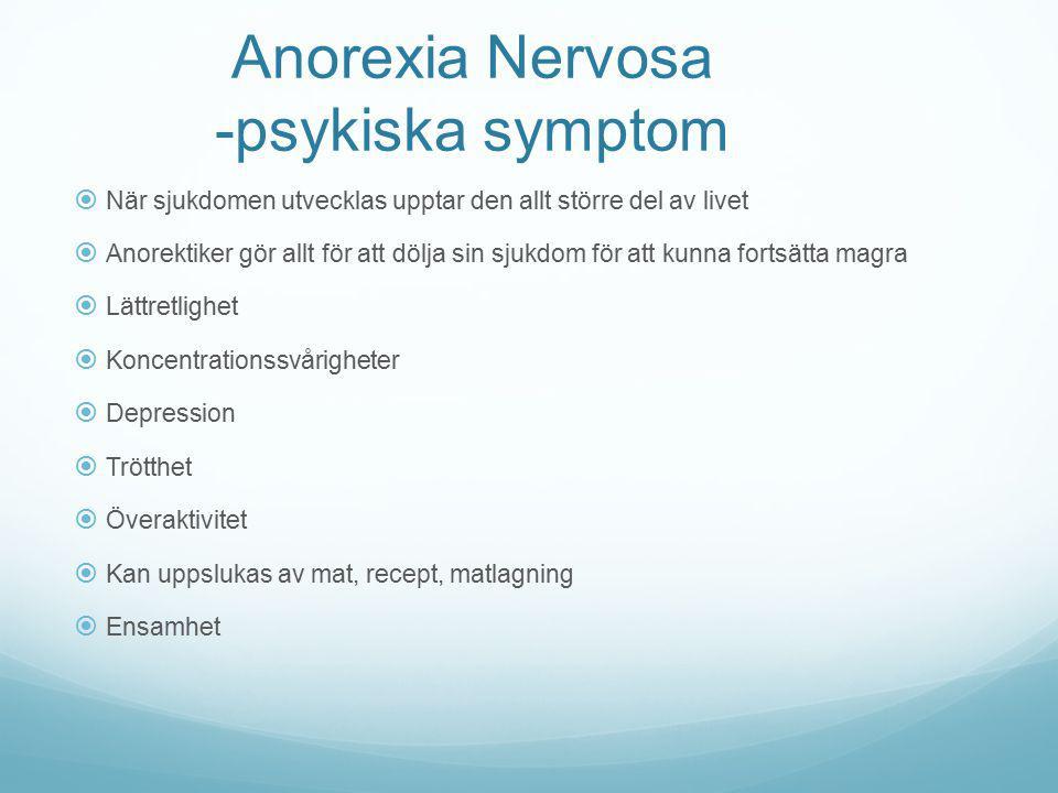 Anorexia Nervosa -psykiska symptom  När sjukdomen utvecklas upptar den allt större del av livet  Anorektiker gör allt för att dölja sin sjukdom för