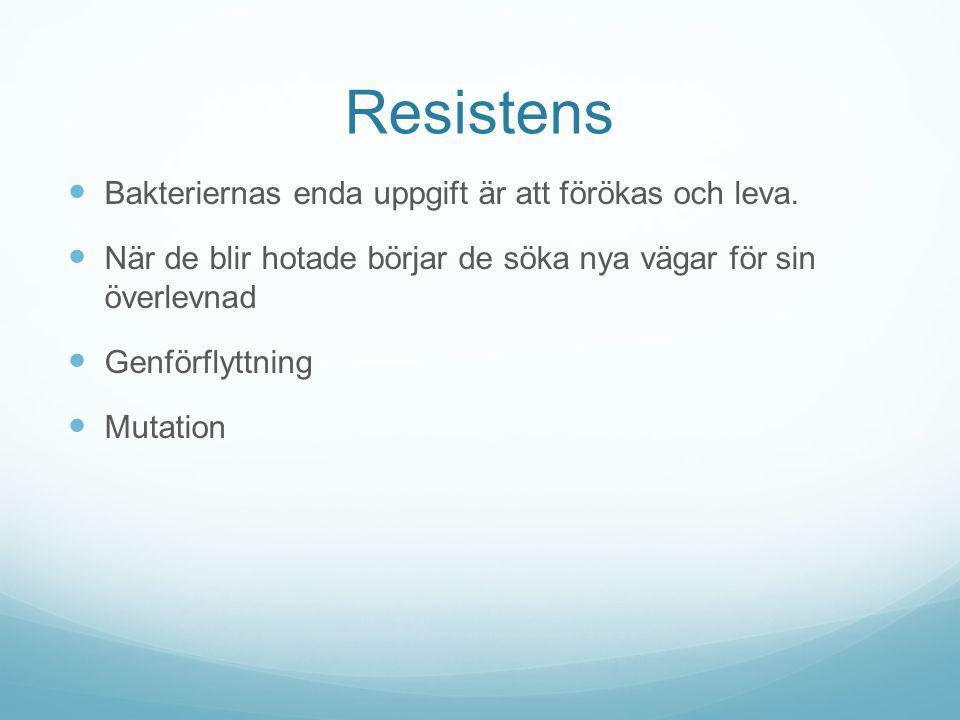 Resistens Bakteriernas enda uppgift är att förökas och leva. När de blir hotade börjar de söka nya vägar för sin överlevnad Genförflyttning Mutation