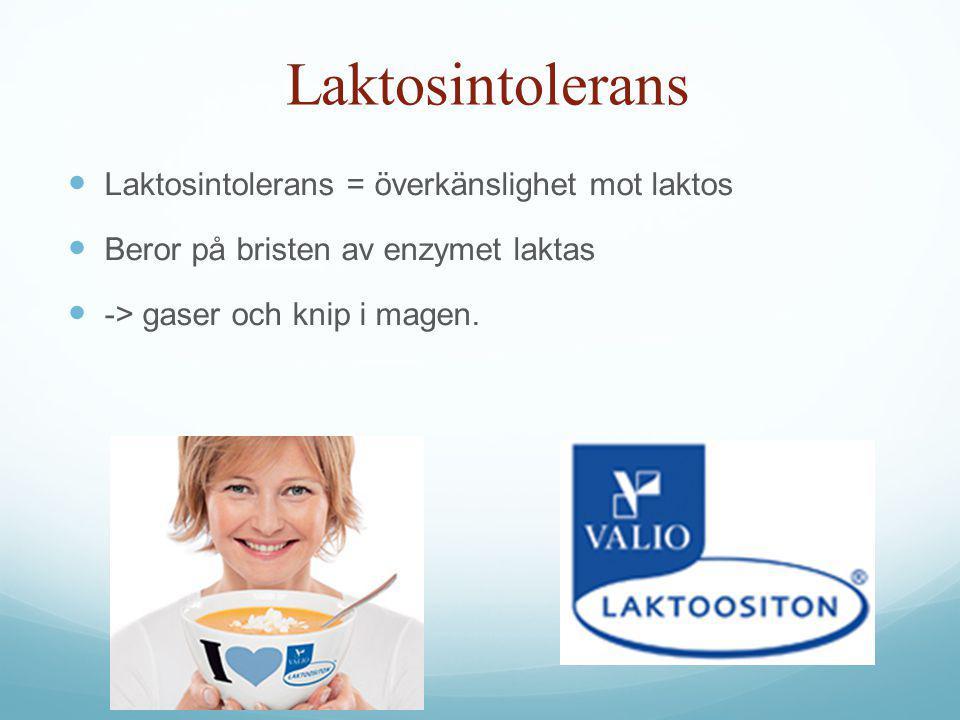 Laktosintolerans Laktosintolerans = överkänslighet mot laktos Beror på bristen av enzymet laktas -> gaser och knip i magen.