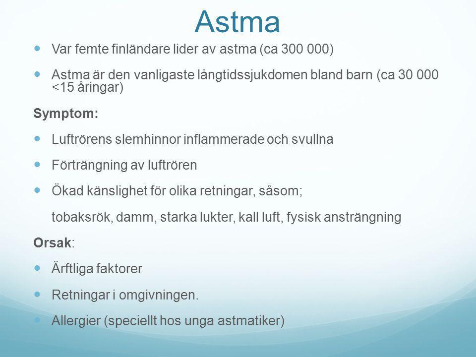 Astma Var femte finländare lider av astma (ca 300 000) Astma är den vanligaste långtidssjukdomen bland barn (ca 30 000 <15 åringar) Symptom: Luftrören