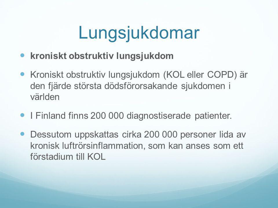 Lungsjukdomar kroniskt obstruktiv lungsjukdom Kroniskt obstruktiv lungsjukdom (KOL eller COPD) är den fjärde största dödsförorsakande sjukdomen i värl