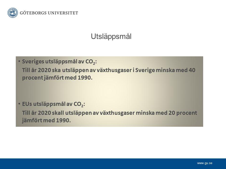 www.gu.se Exempel på andra målformuleringar: We will reduce CO2 emissions by 20% between 2005 and 2015.