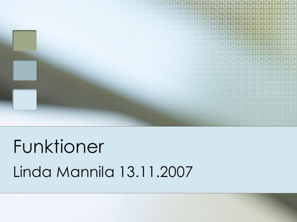 Att använda egna moduler >>> import hello Hello World >>> help(hello) Help on module hello: NAME hello FILE c:\hello.py DESCRIPTION hello.py Linda Mannila 2007 Programmet skriver ut Hello World på skärmen