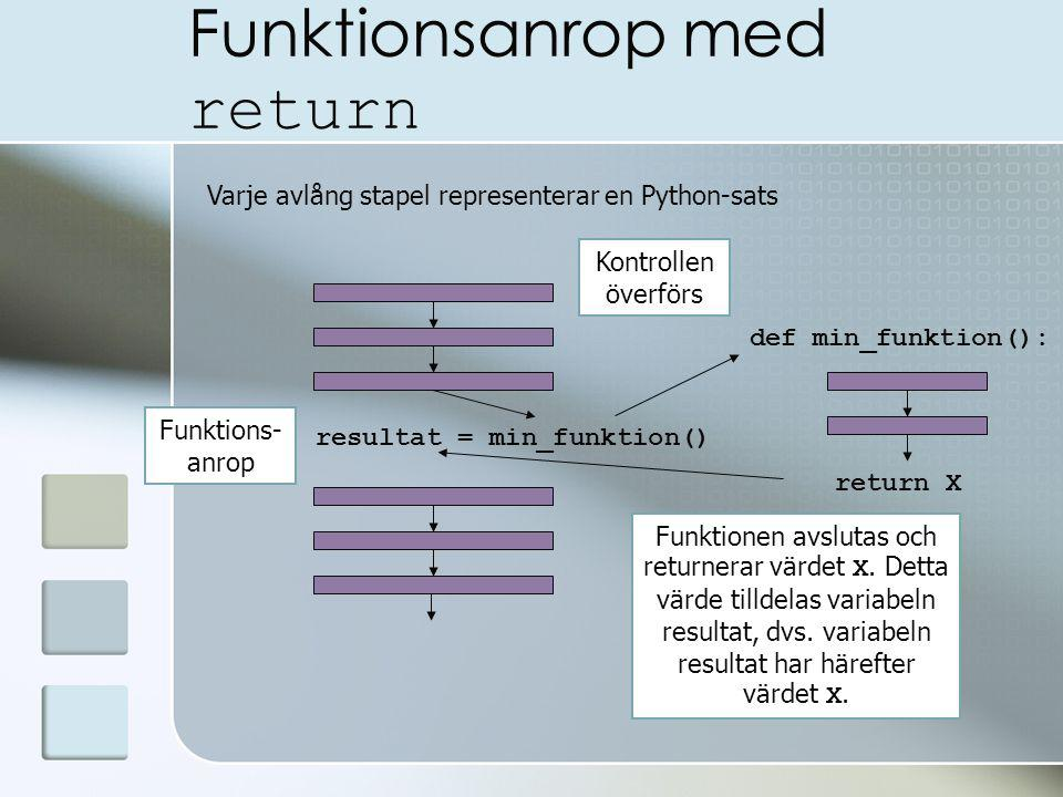 Funktionsanrop med return Varje avlång stapel representerar en Python-sats resultat = min_funktion() def min_funktion(): Funktions- anrop Funktionen avslutas och returnerar värdet X.