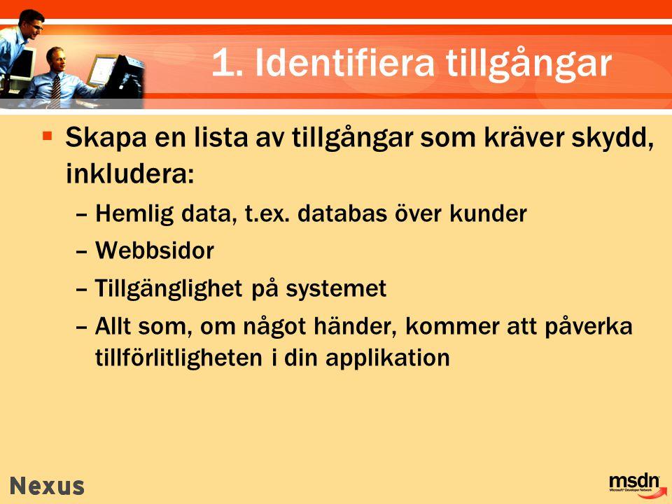 1. Identifiera tillgångar  Skapa en lista av tillgångar som kräver skydd, inkludera: –Hemlig data, t.ex. databas över kunder –Webbsidor –Tillgängligh