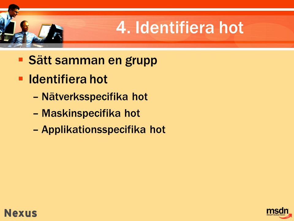 4. Identifiera hot  Sätt samman en grupp  Identifiera hot –Nätverksspecifika hot –Maskinspecifika hot –Applikationsspecifika hot