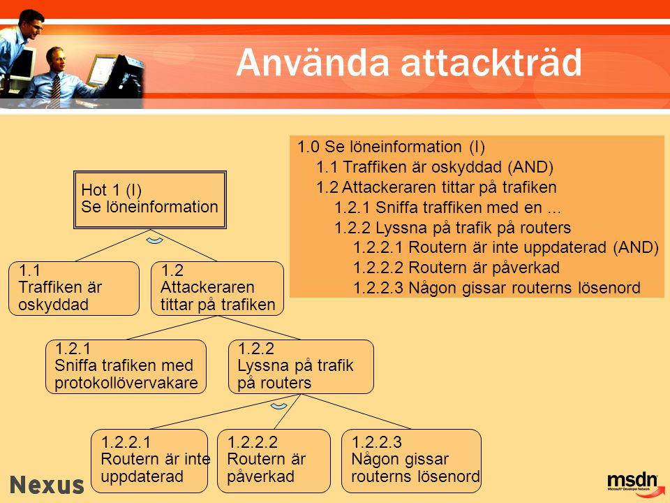 Hot 1 (I) Se löneinformation 1.1 Traffiken är oskyddad 1.2 Attackeraren tittar på trafiken 1.2.1 Sniffa trafiken med protokollövervakare 1.2.2 Lyssna