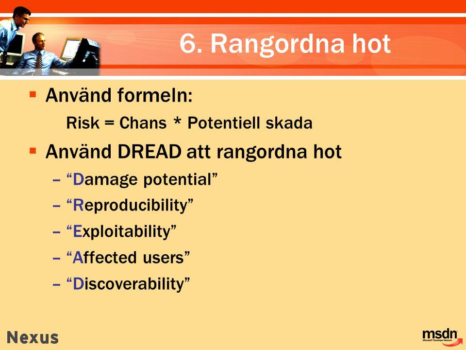 """6. Rangordna hot  Använd formeln: Risk = Chans * Potentiell skada  Använd DREAD att rangordna hot –""""Damage potential"""" –""""Reproducibility"""" –""""Exploitab"""