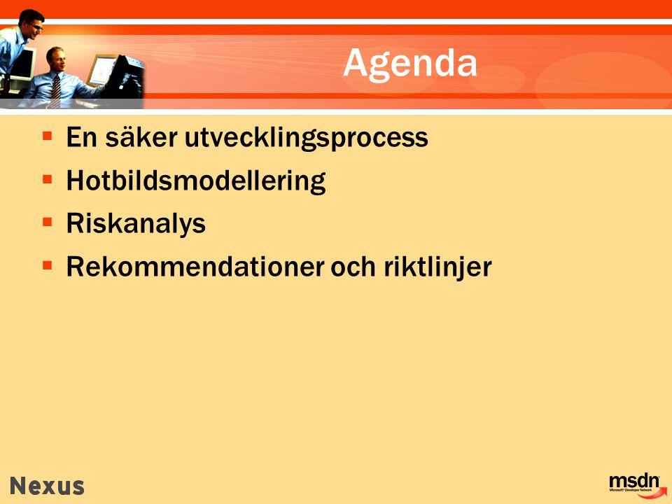 Agenda  En säker utvecklingsprocess  Hotbildsmodellering  Riskanalys  Rekommendationer och riktlinjer
