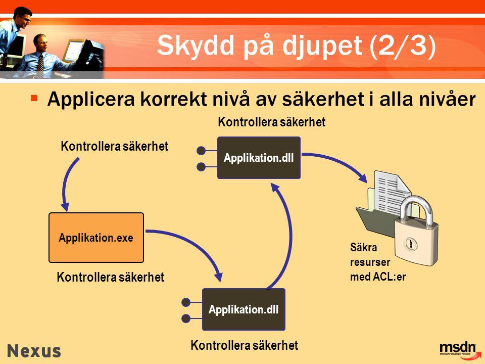 Kontrollera säkerhet Applikation.dll Applikation.exe Kontrollera säkerhet Säkra resurser med ACL:er Applikation.dll Skydd på djupet (2/3)  Applicera