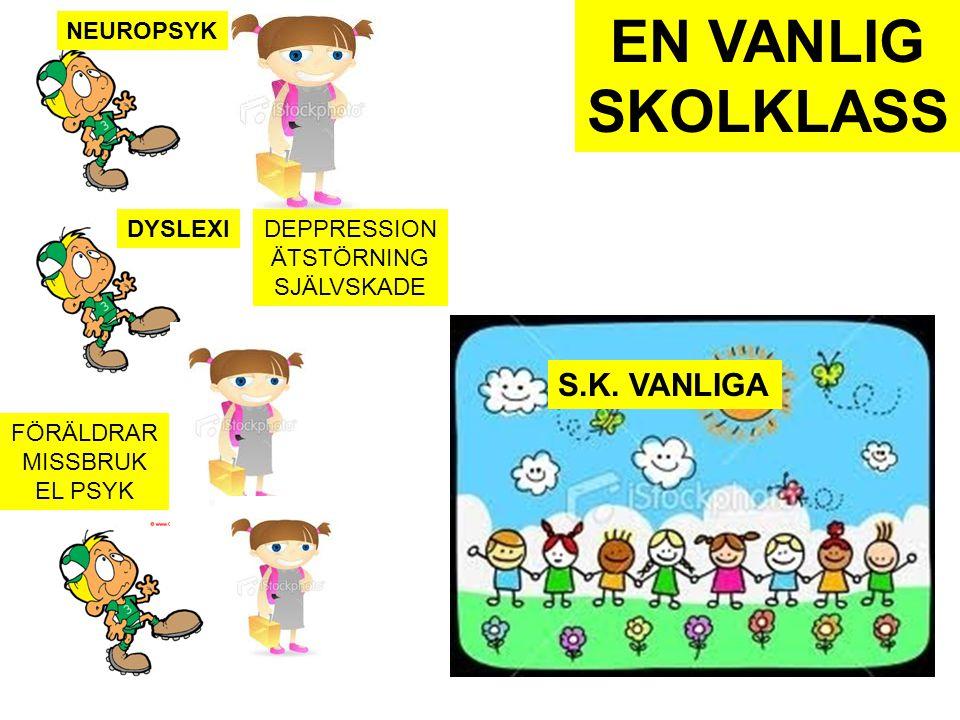NEUROPSYK DYSLEXI FÖRÄLDRAR MISSBRUK EL PSYK DEPPRESSION ÄTSTÖRNING SJÄLVSKADE S.K. VANLIGA EN VANLIG SKOLKLASS