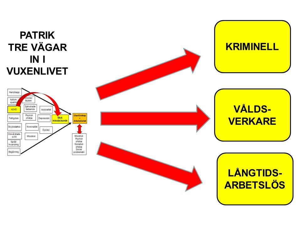 PATRIK TRE VÄGAR IN I VUXENLIVET KRIMINELL VÅLDS- VERKARE LÅNGTIDS- ARBETSLÖS