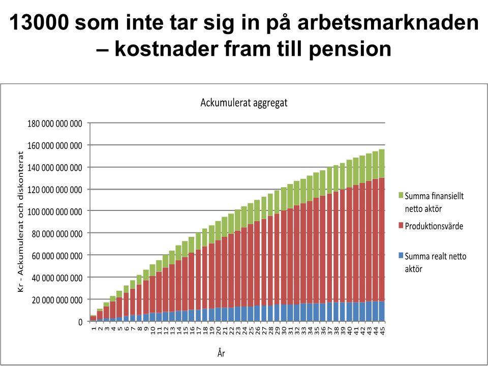 13000 som inte tar sig in på arbetsmarknaden – kostnader fram till pension