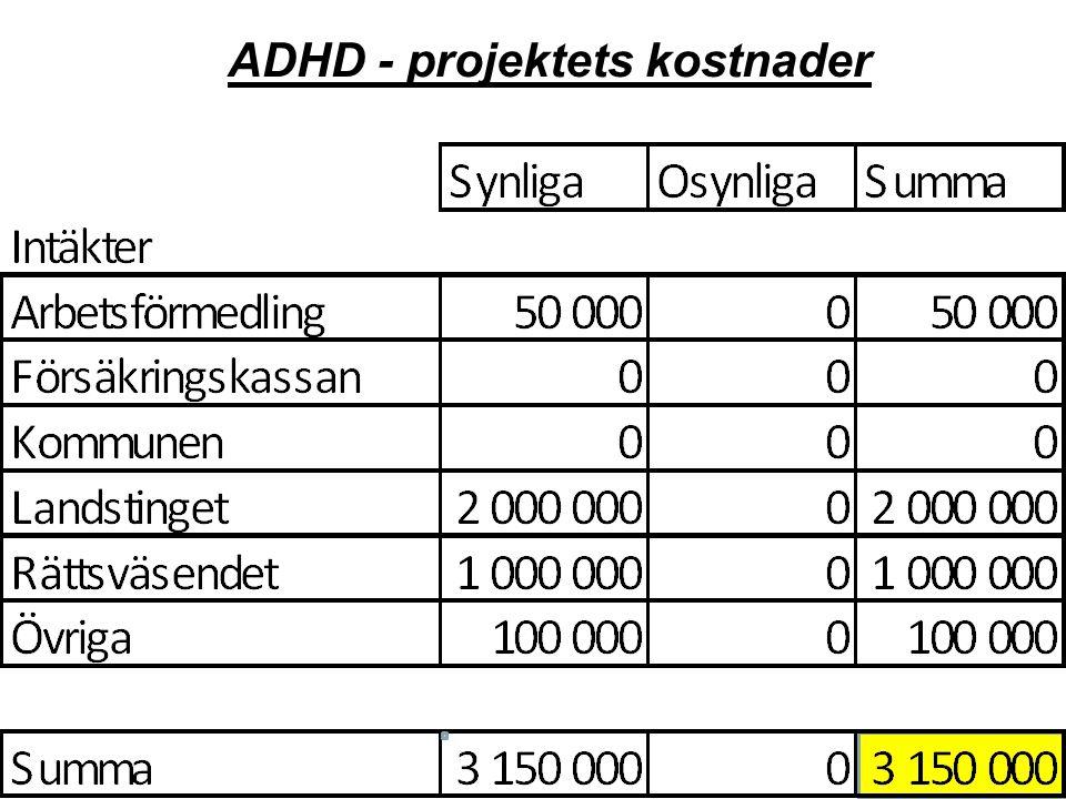 ADHD - projektets kostnader