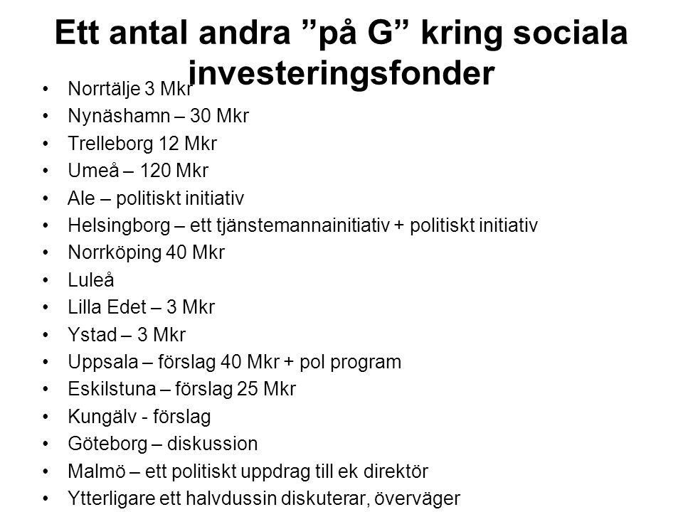"""Ett antal andra """"på G"""" kring sociala investeringsfonder Norrtälje 3 Mkr Nynäshamn – 30 Mkr Trelleborg 12 Mkr Umeå – 120 Mkr Ale – politiskt initiativ"""