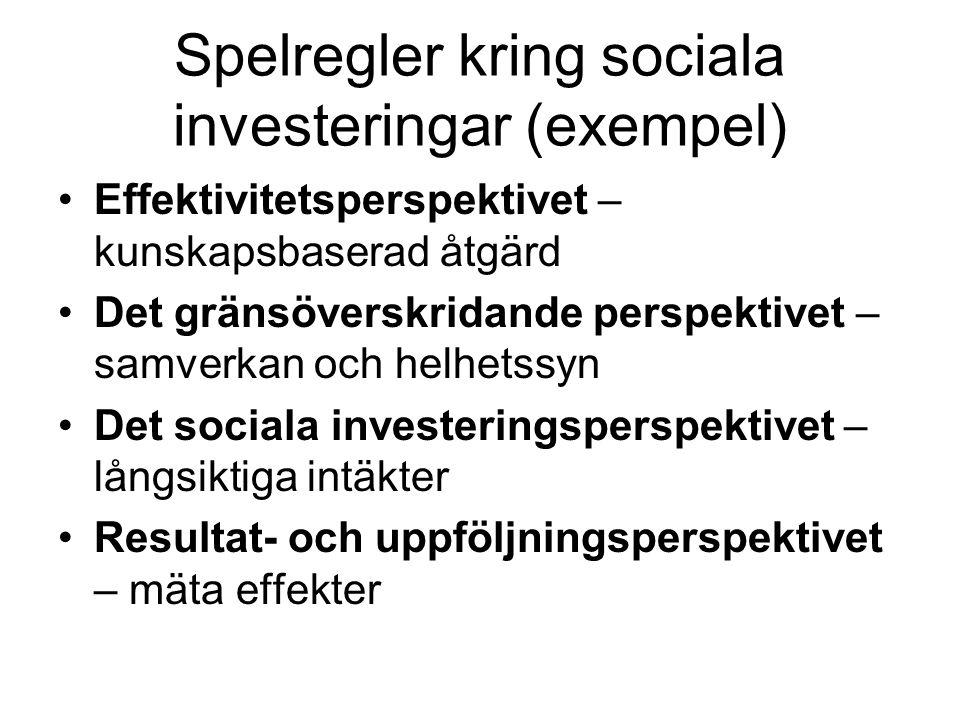 Spelregler kring sociala investeringar (exempel) Effektivitetsperspektivet – kunskapsbaserad åtgärd Det gränsöverskridande perspektivet – samverkan oc